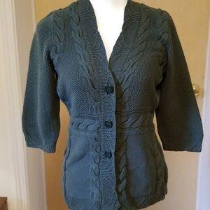 Women's army green cardigan sweater